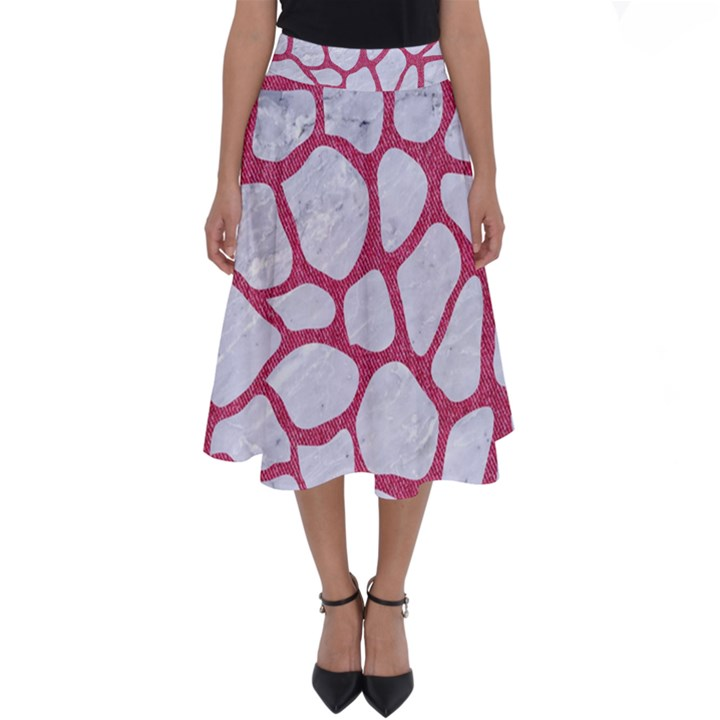 SKIN1 WHITE MARBLE & PINK DENIM Perfect Length Midi Skirt