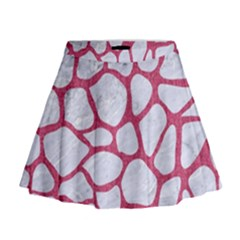 Skin1 White Marble & Pink Denim Mini Flare Skirt
