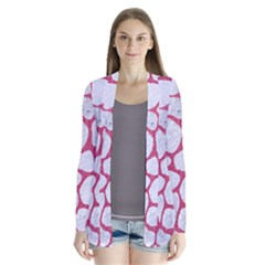 Skin1 White Marble & Pink Denim Drape Collar Cardigan