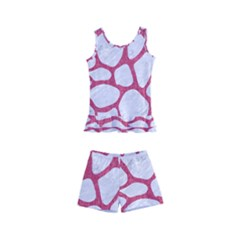 Skin1 White Marble & Pink Denim Kid s Boyleg Swimsuit
