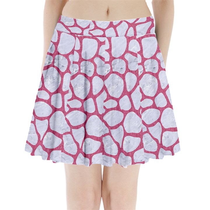 SKIN1 WHITE MARBLE & PINK DENIM Pleated Mini Skirt