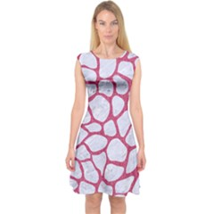 Skin1 White Marble & Pink Denim Capsleeve Midi Dress