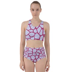 Skin1 White Marble & Pink Denim Racer Back Bikini Set by trendistuff