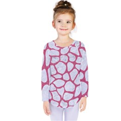 Skin1 White Marble & Pink Denim Kids  Long Sleeve Tee