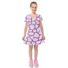 Skin1 White Marble & Pink Denim Kids  Short Sleeve Velvet Dress by trendistuff