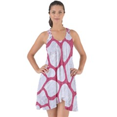 Skin1 White Marble & Pink Denim Show Some Back Chiffon Dress by trendistuff