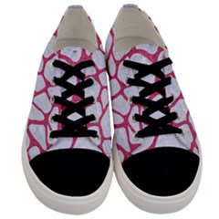 Skin1 White Marble & Pink Denim Men s Low Top Canvas Sneakers