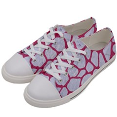 Skin1 White Marble & Pink Denim Women s Low Top Canvas Sneakers by trendistuff