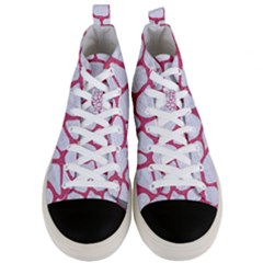 Skin1 White Marble & Pink Denim Men s Mid Top Canvas Sneakers