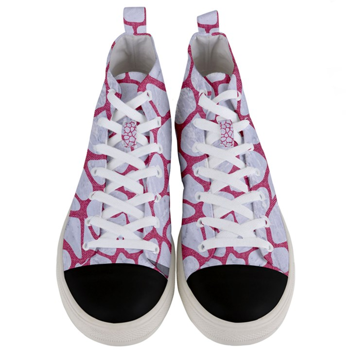 SKIN1 WHITE MARBLE & PINK DENIM Men s Mid-Top Canvas Sneakers