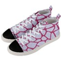 SKIN1 WHITE MARBLE & PINK DENIM Men s Mid-Top Canvas Sneakers View2