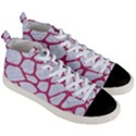 SKIN1 WHITE MARBLE & PINK DENIM Men s Mid-Top Canvas Sneakers View3