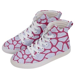 Skin1 White Marble & Pink Denim Men s Hi Top Skate Sneakers by trendistuff