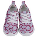 SKIN1 WHITE MARBLE & PINK DENIM Kids  Lightweight Sports Shoes View1