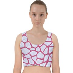 Skin1 White Marble & Pink Denim Velvet Racer Back Crop Top