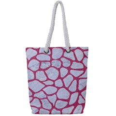 Skin1 White Marble & Pink Denim Full Print Rope Handle Tote (small)
