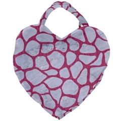 Skin1 White Marble & Pink Denim Giant Heart Shaped Tote