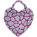 SKIN1 WHITE MARBLE & PINK DENIM Giant Heart Shaped Tote View2