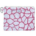 SKIN1 WHITE MARBLE & PINK DENIM Canvas Cosmetic Bag (XXL) View1