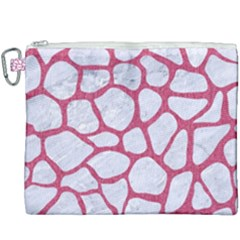 Skin1 White Marble & Pink Denim Canvas Cosmetic Bag (xxxl) by trendistuff