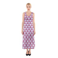 SCALES3 WHITE MARBLE & PINK DENIM (R) Sleeveless Maxi Dress