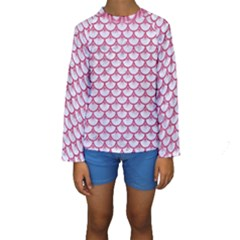 Scales3 White Marble & Pink Denim (r) Kids  Long Sleeve Swimwear