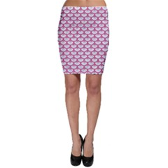Scales3 White Marble & Pink Denim (r) Bodycon Skirt