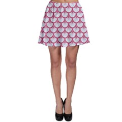 Scales3 White Marble & Pink Denim (r) Skater Skirt