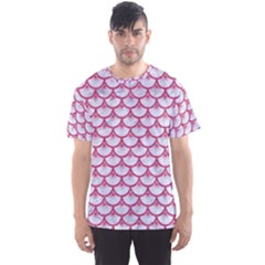 Scales3 White Marble & Pink Denim (r) Men s Sports Mesh Tee
