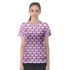 Scales3 White Marble & Pink Denim (r) Women s Sport Mesh Tee