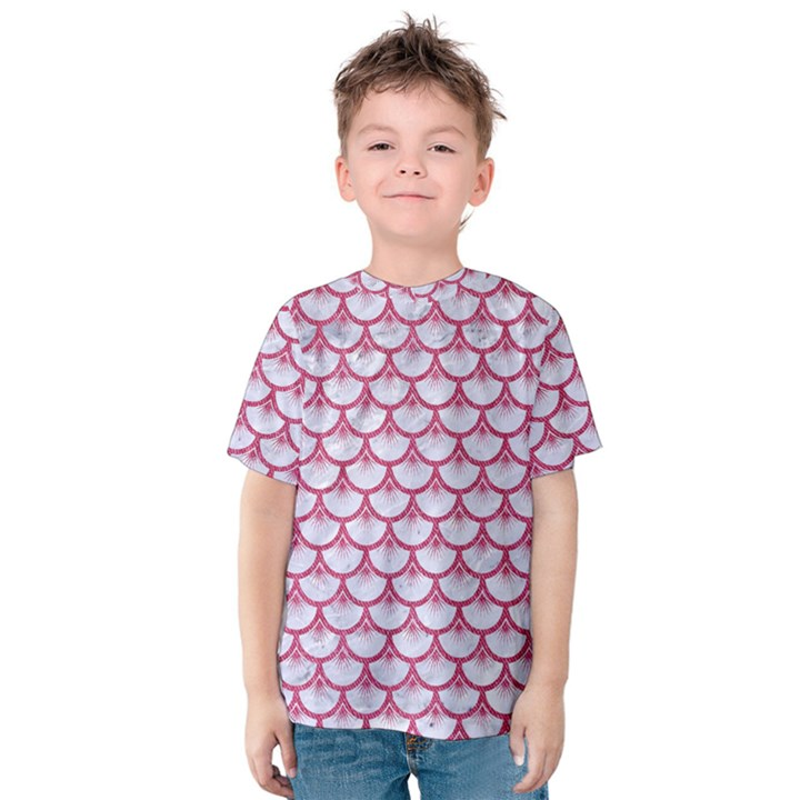 SCALES3 WHITE MARBLE & PINK DENIM (R) Kids  Cotton Tee