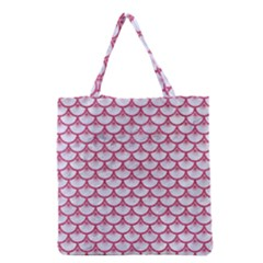 SCALES3 WHITE MARBLE & PINK DENIM (R) Grocery Tote Bag