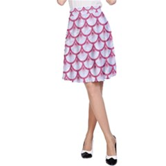 SCALES3 WHITE MARBLE & PINK DENIM (R) A-Line Skirt