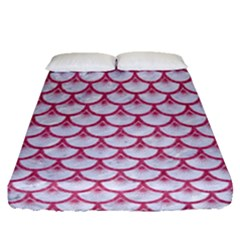 SCALES3 WHITE MARBLE & PINK DENIM (R) Fitted Sheet (Queen Size)