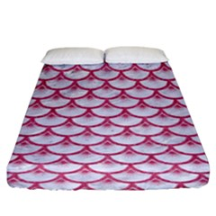 SCALES3 WHITE MARBLE & PINK DENIM (R) Fitted Sheet (King Size)