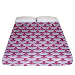 Scales3 White Marble & Pink Denim (r) Fitted Sheet (california King Size)
