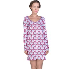 Scales3 White Marble & Pink Denim (r) Long Sleeve Nightdress