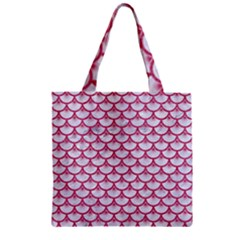Scales3 White Marble & Pink Denim (r) Zipper Grocery Tote Bag by trendistuff