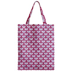 Scales3 White Marble & Pink Denim (r) Zipper Classic Tote Bag by trendistuff