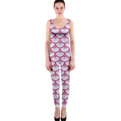 SCALES3 WHITE MARBLE & PINK DENIM (R) One Piece Catsuit