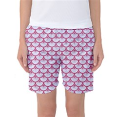 SCALES3 WHITE MARBLE & PINK DENIM (R) Women s Basketball Shorts