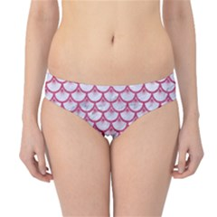 Scales3 White Marble & Pink Denim (r) Hipster Bikini Bottoms