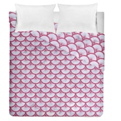 SCALES3 WHITE MARBLE & PINK DENIM (R) Duvet Cover Double Side (Queen Size)