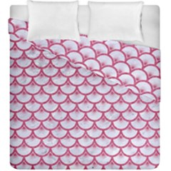 SCALES3 WHITE MARBLE & PINK DENIM (R) Duvet Cover Double Side (King Size)