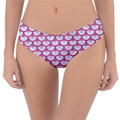 SCALES3 WHITE MARBLE & PINK DENIM (R) Reversible Classic Bikini Bottoms
