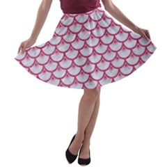 SCALES3 WHITE MARBLE & PINK DENIM (R) A-line Skater Skirt