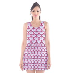 SCALES3 WHITE MARBLE & PINK DENIM (R) Scoop Neck Skater Dress