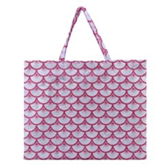 Scales3 White Marble & Pink Denim (r) Zipper Large Tote Bag by trendistuff