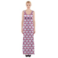 SCALES3 WHITE MARBLE & PINK DENIM (R) Maxi Thigh Split Dress