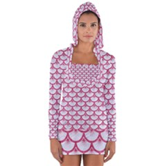 Scales3 White Marble & Pink Denim (r) Long Sleeve Hooded T Shirt by trendistuff